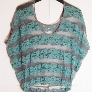 Free People Gray Lace/ Seafoam Top S S/M?